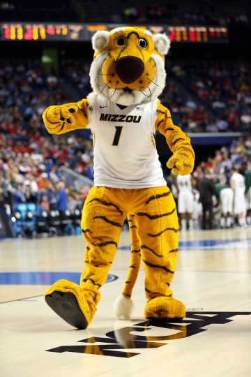 The Missouri Tigers mascot performs during the second round of the 2013 NCAA Men's Basketball Tournament at the Rupp Arena on March 21, 2013 in Lexington, Kentucky.  (Photo by Andy Lyons/Getty Images)