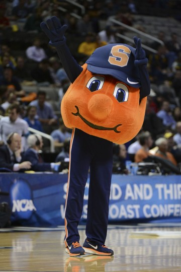 Syracuse Orange mascot performs against the Montana Grizzlies during the second half of the second round of the 2013 NCAA tournament at HP Pavilion. Syracuse defeated Montana 81-34. Mandatory Credit: Kyle Terada-USA TODAY Sports