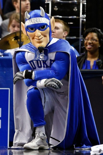 The Duke Blue Devils mascot watches from the baseline in the first half as the Blue Devils take on the Albany Great Danes in the second round of the 2013 NCAA Men's Basketball Tournament on March 22, 2013 at Wells Fargo Center in Philadelphia, Pennsylvania.  (Photo by Rob Carr/Getty Images)