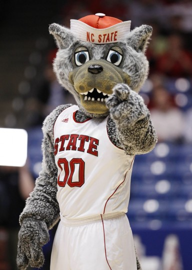 North Carolina State Wolfpack mascot performs against the Temple Owls in the first half during the second round of the 2013 NCAA tournament at University of Dayton Arena. Mandatory Credit: Frank Victores-USA TODAY Sports
