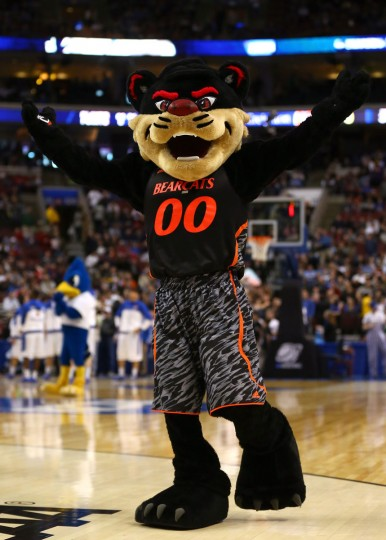 The Cincinnati Bearcats mascot performs on the court while taking on the Creighton Bluejays during the second round of the 2013 NCAA Men's Basketball Tournament on March 22, 2013 at Wells Fargo Center in Philadelphia, Pennsylvania.  (Photo by Elsa/Getty Images)