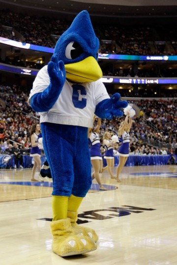 The Creighton Bluejays mascot performs on the court while the Bluejays take on the Cincinnati Bearcats during the second round of the 2013 NCAA Men's Basketball Tournament on March 22, 2013 at Wells Fargo Center in Philadelphia, Pennsylvania.  (Photo by Rob Carr/Getty Images)