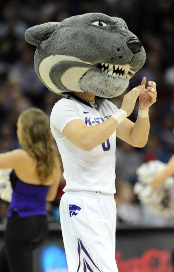 Kansas State Wildcats mascot performs for the crowd before the game against the La Salle Explorers during the second round of the 2013 NCAA tournament at the Sprint Center. La Salle won 63-61. Mandatory Credit: Denny Medley-USA TODAY Sports