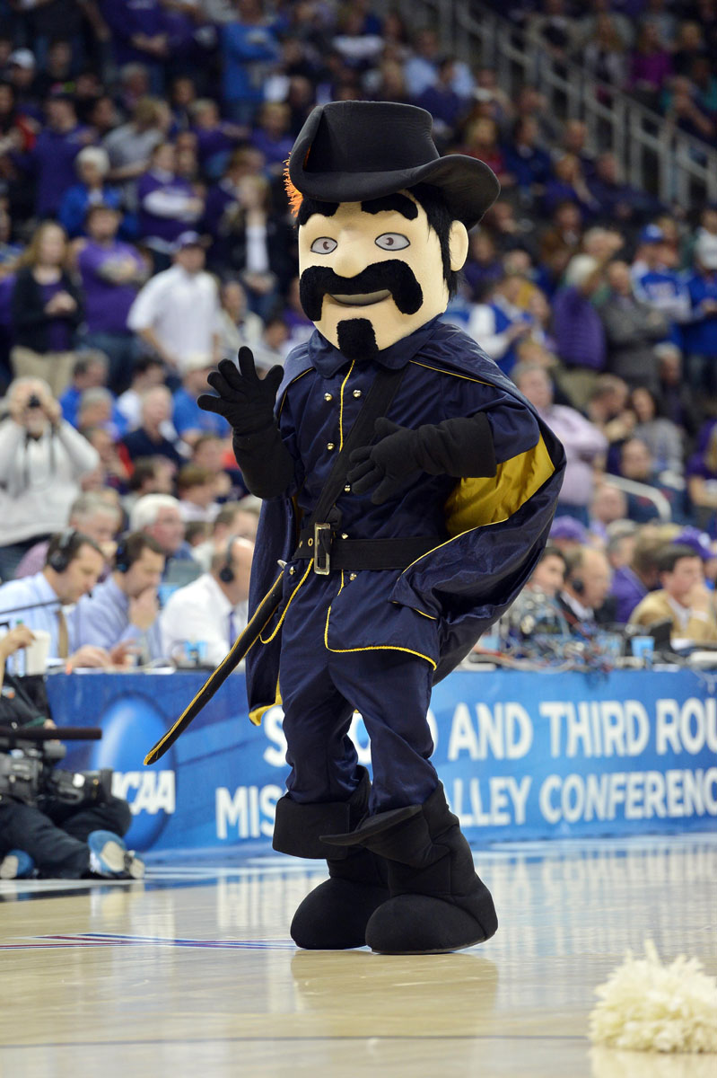 The colorado buffaloes mascot chip performs during the second round of