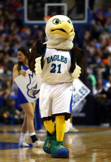 The mascot for the Florida Gulf Coast Eagles performs against the Georgetown Hoyas during the second round of the 2013 NCAA Men's Basketball Tournament at Wells Fargo Center on March 22, 2013 in Philadelphia, Pennsylvania.  (Photo by Elsa/Getty Images)