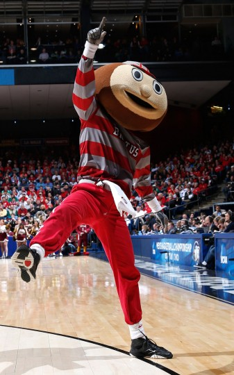 The Ohio State Buckeyes mascot Brutus walks on the court during a game stoppage in the second half against the Iona Gaels during the second round of the 2013 NCAA Men's Basketball Tournament at UD Arena on March 22, 2013 in Dayton, Ohio.  (Photo by Joe Robbins/Getty Images)