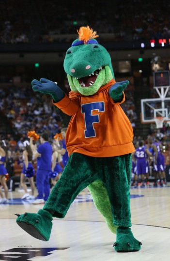 The Florida Gators mascot performs during the game against the Northwestern State Demons during the second round of the 2013 NCAA Men's Basketball Tournament at The Frank Erwin Center on March 22, 2013 in Austin, Texas.  (Photo by Stephen Dunn/Getty Images)
