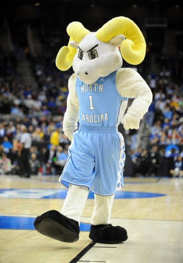 North Carolina Tar Heels mascot entertains the crowd in the second half of the game against the Villanova Wildcats during the second round of the 2013 NCAA tournament at the Sprint Center. North Carolina won 78-71. (Denny Medley-USA TODAY Sports)
