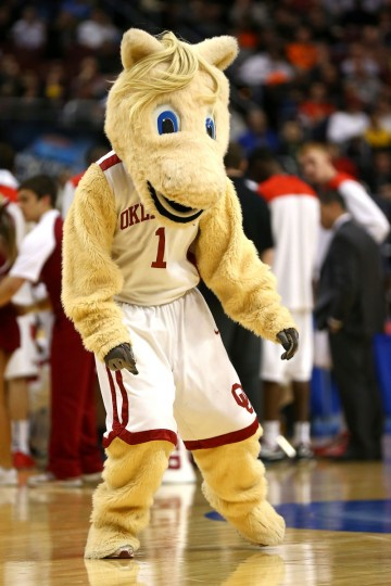 The mascot for the Oklahoma Sooners performs against the San Diego State Aztecs during the second round of the 2013 NCAA Men's Basketball Tournament at Wells Fargo Center on March 22, 2013 in Philadelphia, Pennsylvania.  (Photo by Elsa/Getty Images)