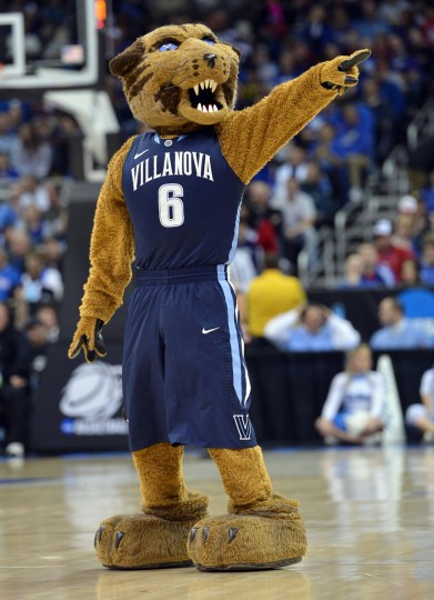 Villanova Wildcats mascot performs during a game against the North Carolina Tar Heels in the second half during the second round of the 2013 NCAA tournament at the Sprint Center.  North Carolina defeated Villanova 78-71. (Peter G. Aiken-USA TODAY Sports)