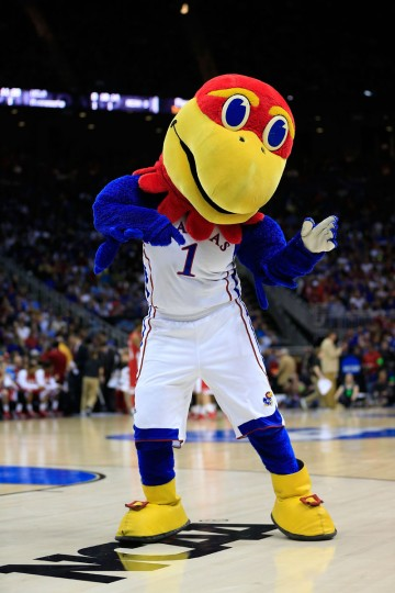 Big Jay, the mascot for the Kansas Jayhawks, performs in the first half of the game against the Western Kentucky Hilltoppers during the second round of the 2013 NCAA Men's Basketball Tournament at the Sprint Center on March 22, 2013 in Kansas City, Missouri.  (Photo by Jamie Squire/Getty Images)