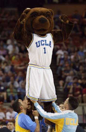 The UCLA Bruin mascot Joe Bruin performs during the game against Minnesota Golden Gophers during the second round of the 2013 NCAA Men's Basketball Tournament at The Frank Erwin Center on March 22, 2013 in Austin, Texas.  (Photo by Stephen Dunn/Getty Images)