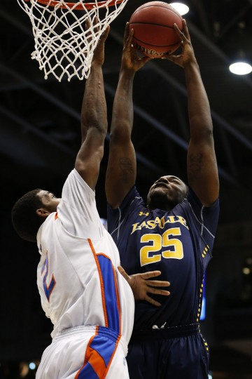 La Salle's Jerrell Wright goes up against Derrick Marks of Boise State in the first half during the first round of the 2013 NCAA Men's Basketball Tournament on March 20, 2013 in Dayton, Ohio. (Gregory Shamus/Getty Images)