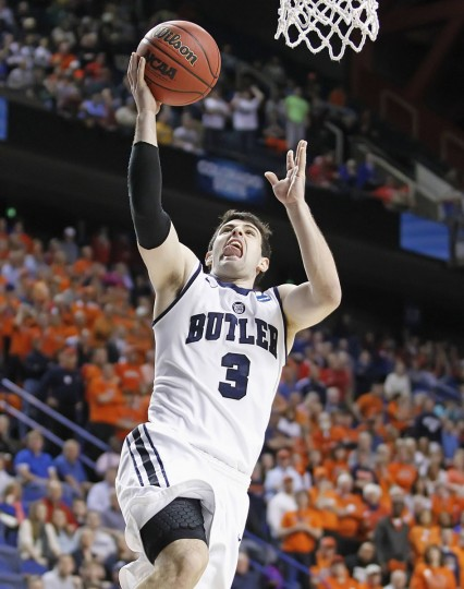 Butler's Alex Barlow makes an open layup during the second half of a second round NCAA basketball game against Bucknell in Lexington, Kentucky, March 21, 2013. (Megan Stearman/Reuters)