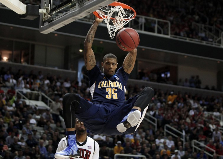 California's Richard Solomon dunks against UNLV during their NCAA basketball tournament second round game in San Jose, California March 21, 2013. (Robert Galbraith/Reuters)