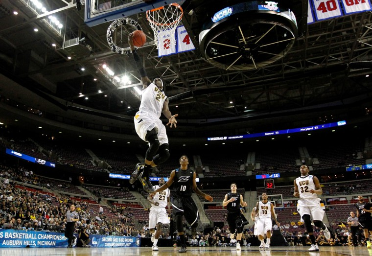 Virginia Commonwealth's Briante Weber drives for a shot attempt against the Akron Zips during the second round of the 2013 NCAA Men's Basketball Tournament in Auburn Hills, Michigan. (Gregory Shamus/Getty Images)