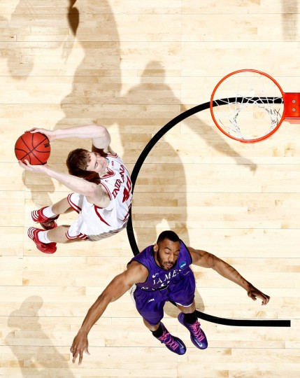 Indiana sophomore Cody Zeller goes up for a dunk against A.J. Davis of James Madison in the second half during the second round of the 2013 NCAA Men's Basketball Tournament in Dayton, Ohio. (Joe Robbins/Getty Images)