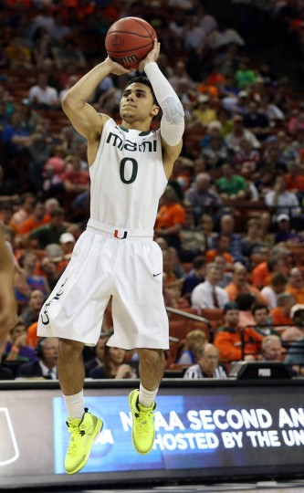 Miami's Shane Larkin takes a shot against Pacific in the second round of the 2013 NCAA Men's Basketball tournament. in Austin, Texas. (Jim Cowsert/USA TODAY Sports)