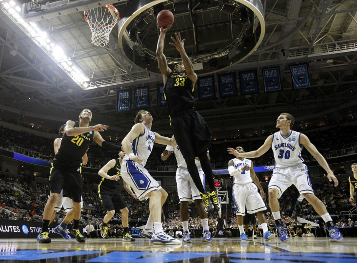 Oregon's Carlos Emory takes a shot against Saint Louis in the first half during the NCAA Tournament third round in San Jose, Calif.,, on Saturday, March 23, 2013. (Nhat V. Meyer/San Jose Mercury News/MCT Photo)