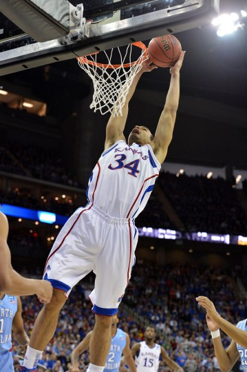 Kansas forward Perry Ellis drives to the basket against North Carolina during the third round of the NCAA basketball tournament. (Peter G. Aiken/USA TODAY Sports)