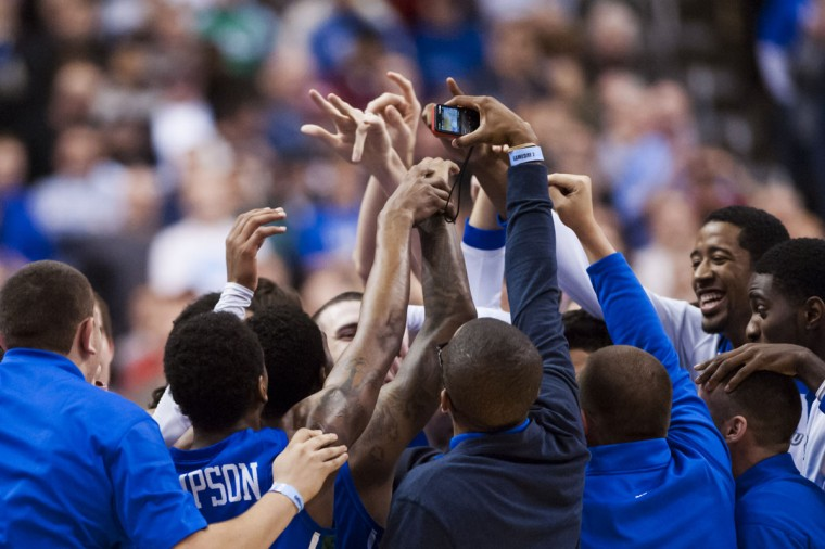 The Florida Gulf Coast Eagles, a 15-seed, celebrate after defeating the San Diego State Aztecs during the third round of the NCAA basketball tournament at Wells Fargo Center. Florida Gulf Coast defeated San Diego State, 81-71, to be the first 15-seed to make it to the Sweet 16. (Howard Smith/USA TODAY Sports)