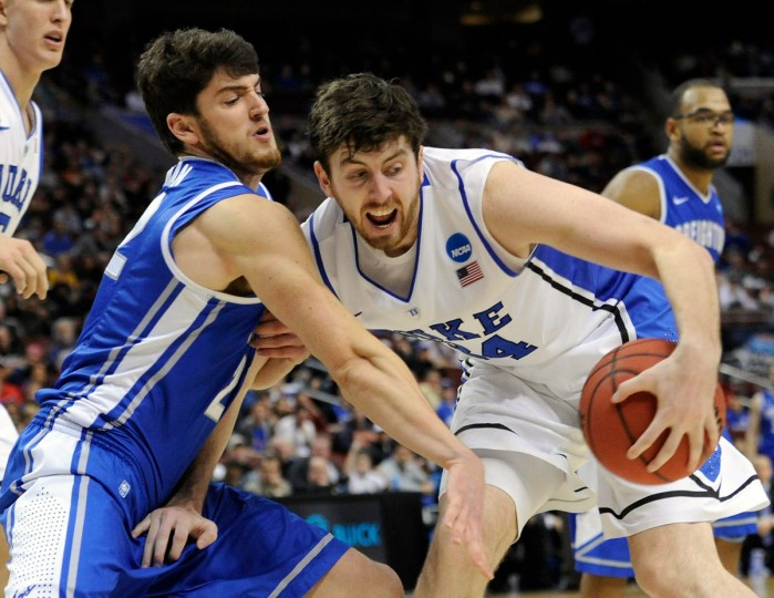 Duke forward Ryan Kelly handles the ball against Creighton guard Avery Dingman in the second half during the third round of the NCAA basketball tournament in Philadelphia. (Eileen Blass/USA TODAY Sports)