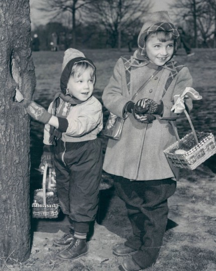 Frank and Jean Rick take part in an Easter Egg hunt in Paterson Park in 1951. (Albert D. Cochran, The Baltimore Sun)