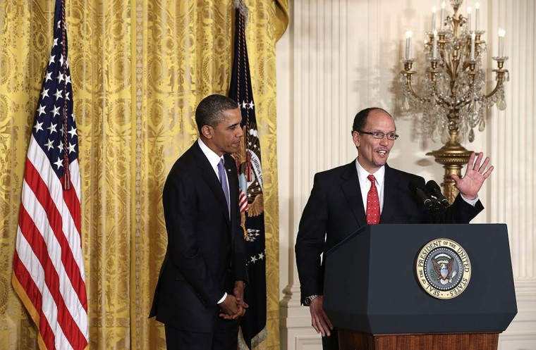 U.S. President Barack Obama (L) looks on as Assistant Attorney General of Justice Department's civil rights division Thomas Perez (R) speaks during a personnel announcement March 18, 2013 at the East Room of the White House in Washington, DC. President Obama has nominated Perez to succeed Hilda Solis as the next labor secretary. (Alex Wong/Getty Images)