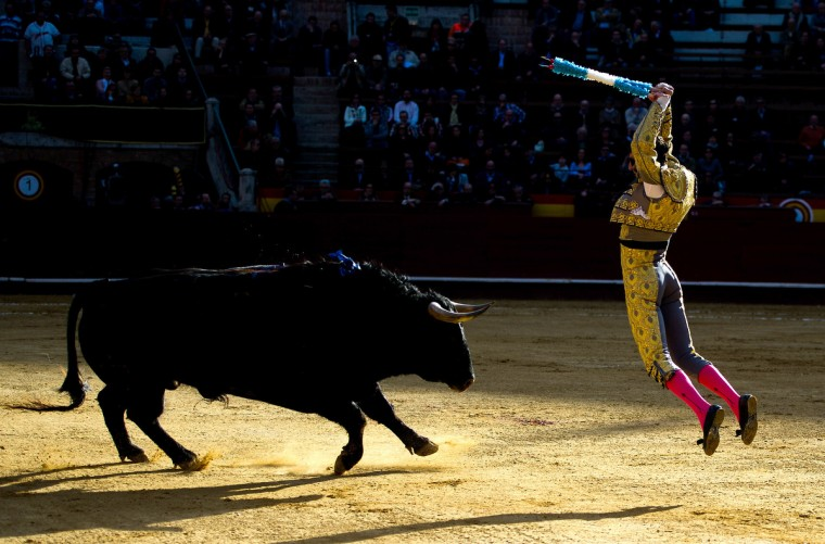 Bullfighter Juan Jose Padill performs during a bullfight as part of the Las Fallas Festival in Valencia, Spain. The Fallas festival, which runs from March 15 until March 19, celebrates the arrival of spring. (David Ramos/Getty Images)