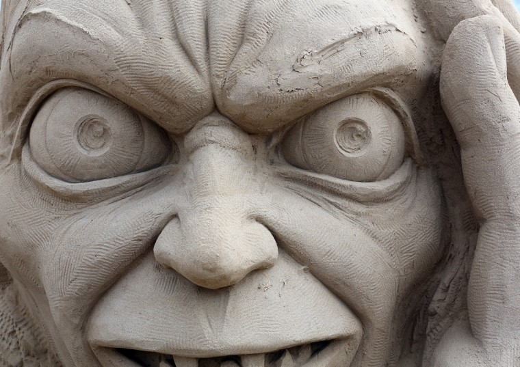 A detail of a sand sculpture of Gollum is seen as pieces are prepared as part of this year's Hollywood themed annual Weston-super-Mare Sand Sculpture festival. (Matt Cardy/Getty Images)