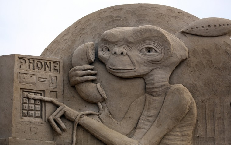 A detail of a sand sculpture of E.T. is seen as pieces are prepared as part of this year's Hollywood themed annual Weston-super-Mare Sand Sculpture festival. (Matt Cardy/Getty Images)