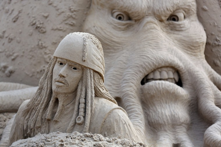 A detail of a sand sculpture of Pirates of the Caribbean is seen as pieces are prepared as part of this year's Hollywood themed annual Weston-super-Mare Sand Sculpture festival. (Matt Cardy/Getty Images)