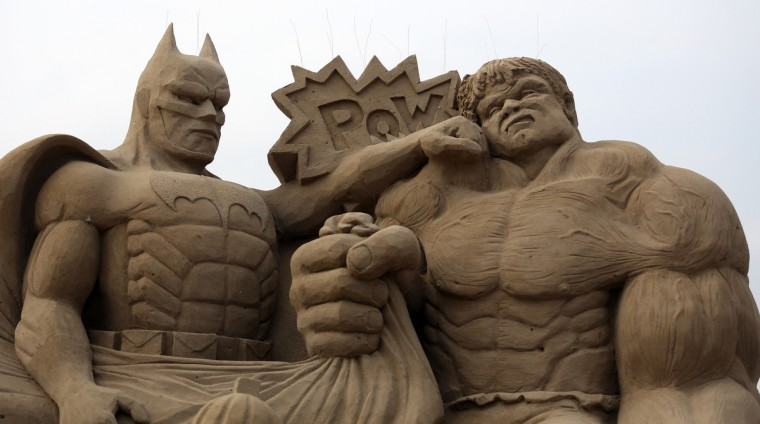A detail of a sand sculpture of Batman and The Incredible Hulk is seen as pieces are prepared as part of this year's Hollywood themed annual Weston-super-Mare Sand Sculpture festival. (Matt Cardy/Getty Images)