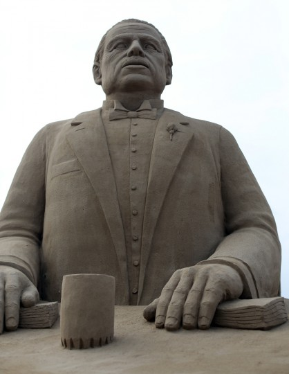 A detail of a sand sculpture of Marlon Brando in The Godfather is seen as pieces are prepared as part of this year's Hollywood themed annual Weston-super-Mare Sand Sculpture festival. (Matt Cardy/Getty Images)