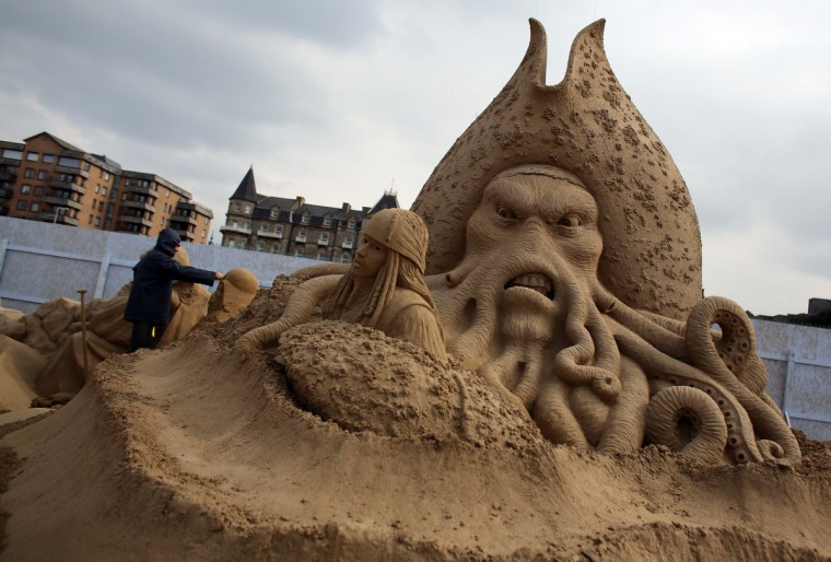 A sand sculpture of Pirates of the Caribbean is seen as pieces are prepared as part of this year's Hollywood themed annual Weston-super-Mare Sand Sculpture festival. (Matt Cardy/Getty Images)