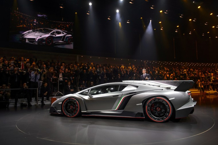 The new Lamborghini Veneno is introcuded by CEO and Chairman Stephan Winkelmann during a preview of Volkswagen Group (VW) ahead of the Geneva Car Show in Geneva. (Fabrice Coffrini/Getty Images)