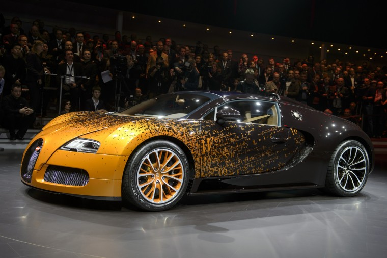 The new Bugatti Grand Sport Venet model car is displayed during a preview of Volkswagen Group ahead of the Geneva Car Show in Geneva. (Fabrice Coffrini/Getty Images)