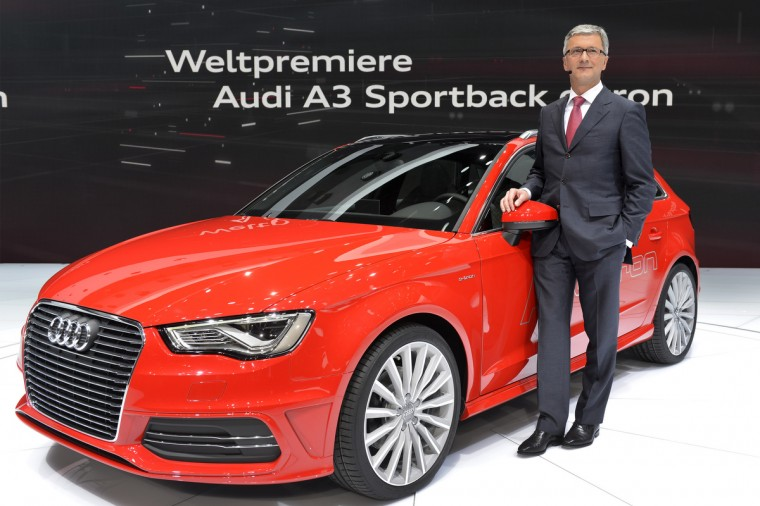 German carmaker Audi CEO Rupert Stadler poses with the new Audi A3 Sportback model displayed in World premiere at the Geneva International Motor Show. (Sebastein Feval/Getty Images)