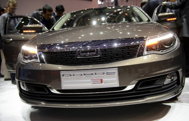 A Qoros 3 Sedan is displayed as an European premiere at the Chinese car maker's booth during the 83rd Geneva Motor Show. (Fabrice Coffrini/Getty Images)