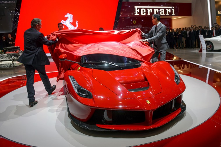 The new La Ferrari hybrid model car is displayed in World premiere at the Italian car maker's booth during the 83rd Geneva Motor Show. (Fabrice Coffrini/Getty Images)
