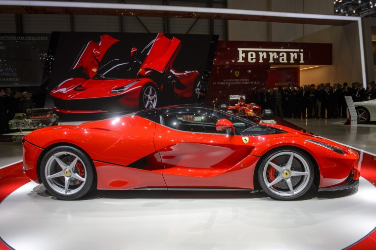 The new La Ferrari hybrid model car is unveilled in World premiere at Italian car maker's booth during the 83rd Geneva Motor Show. (Fabrice Coffrini/Getty Images)