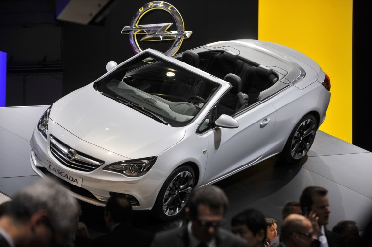 The new Opel Cascada Cabriolet is displayed in World premiere at the German carmaker's booth. (Sebastein Feval/Getty Images)