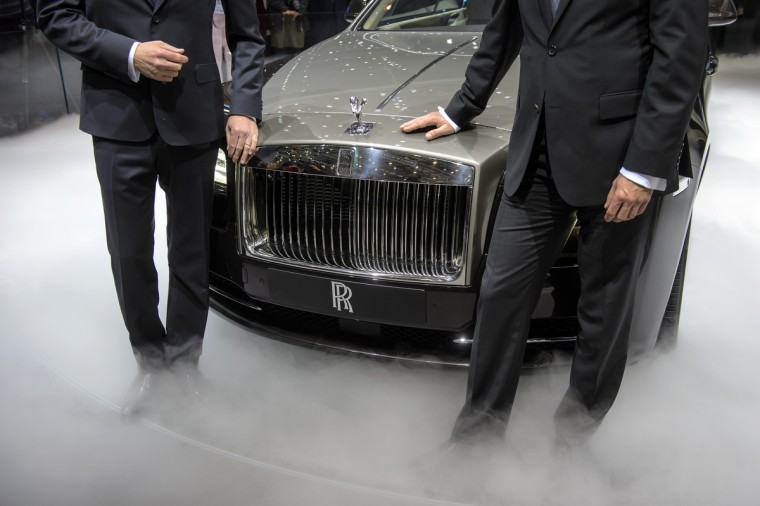 The new Rolls Royce the Wraith model car is presented in world premiere at the British car maker's booth. (Fabrice Coffrini/Getty Images)
