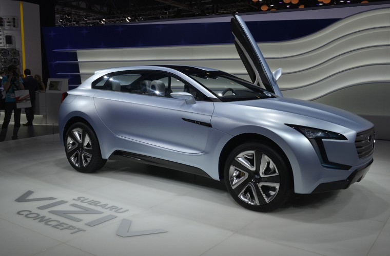 The new Subaru Concept Viziv is displayed in World premiere at the Japanese carmaker's booth on March 5, 2013 on the press day of the Geneva car Show in Geneva. (Sebastein Feval/Getty Images)