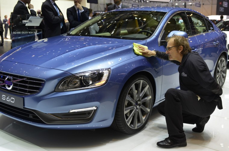 The new Volvo S60 is displayed in World premiere at the Swedish carmaker's booth on March 5, 2013 on the press day of the Geneva car Show in Geneva. (Sebastien Feval/Getty Images)