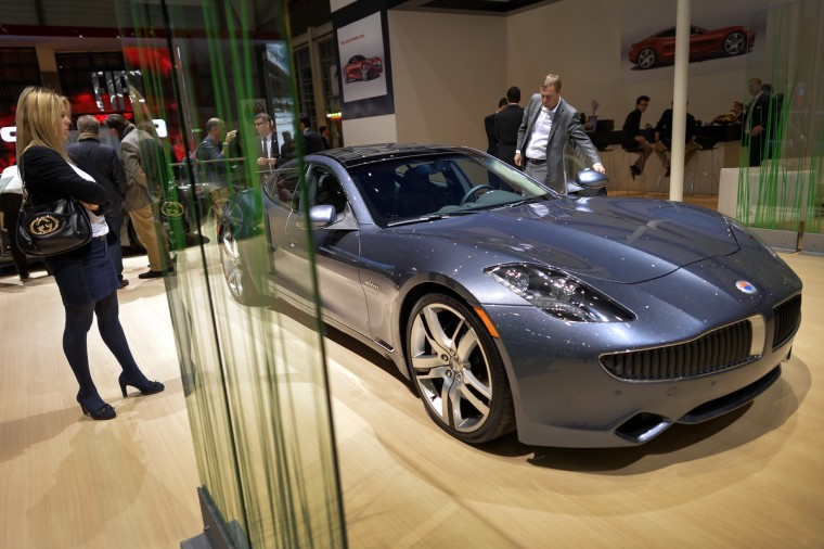 A Fisker Karma luxurious electric car is seen the US car maker's booth during the 83rd Geneva Motor Show. (Fabrice Coffrini/Getty Images)