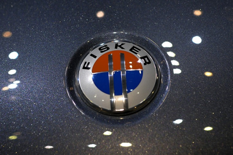 The emblem of a Fisker Karma electric car is seen at the US car maker's booth during the 83rd Geneva Motor Show. (Fabrice Coffrini/Getty Images)