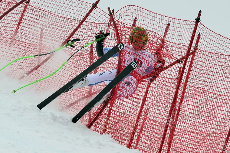 Austria's Klaus Kroell crashes during the Men Super G at the Alpine ski World Cup finals on March 14, 2013 in Lenzerheide. (Fabrice Coffrini/Getty Images)