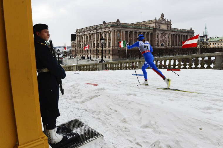 Italy's Debora Agreiter competes during the women's 1.1 kilometer cross country World Cup Royal Palace Sprint in Stockholm. (Jonathan Nackstrand/Getty Images)