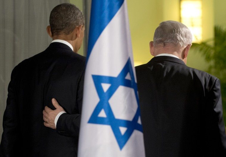 Israeli Prime Minister Benjamin Netanyahu (R) and US President Barack Obama leave after holding a joint press conference at the Prime Minister's Residence in Jerusalem, on the first day of Obama's three day trip to Israel and the Palestinian Territories. (Saul Loeb/Getty Images)